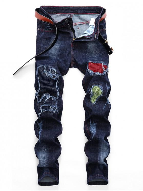 shop Pleated Patchwork Scratch Long Straight Ripped Jeans - DENIM DARK BLUE 36