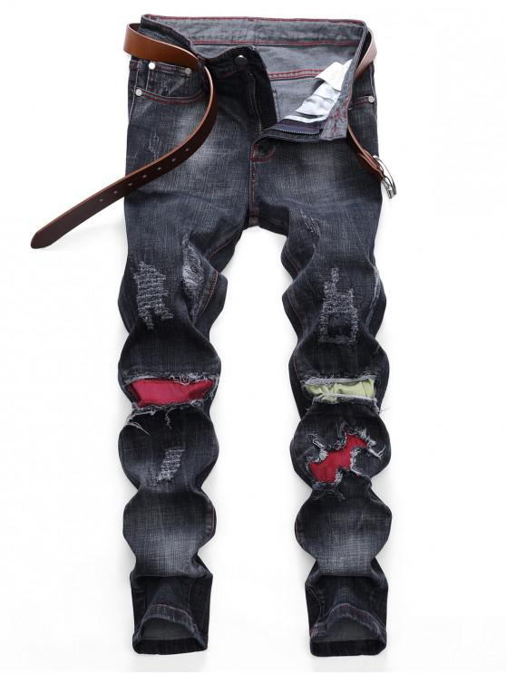 women's Colored Patchwork Ripped Scratch Long Straight Jeans - BLACK 34