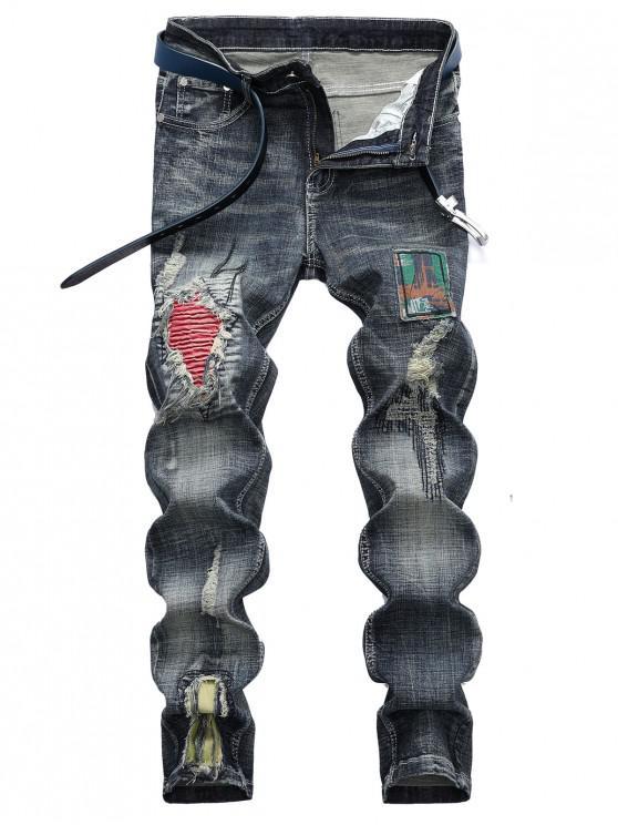 Vaqueros casuales desgastados con patchwork plisado desgastado - Multicolor 34