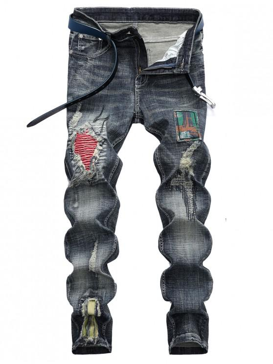 latest Distressed Pleated Patchwork Ripped Casual Jeans - MULTI 42