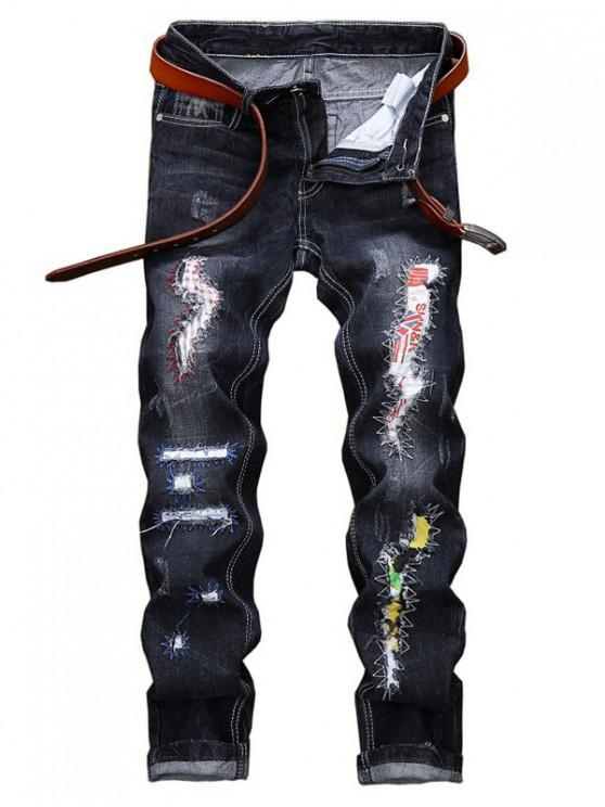 women's Long Straight Scratch Patchwork Ripped Jeans - BLACK 42