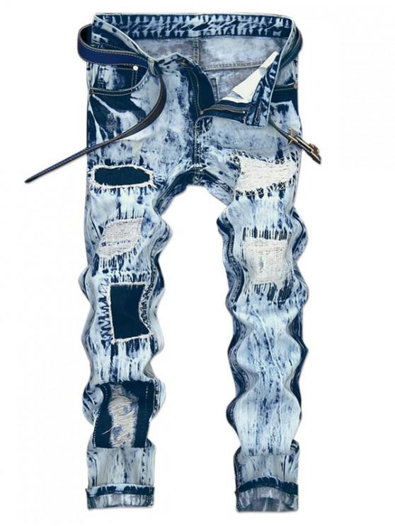 ladies Distressed Long Snow Wash Ripped Patchwork Jeans - DENIM BLUE 32