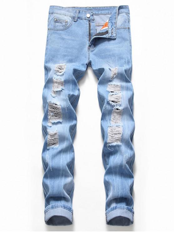 Jeans Casual de Desgastados de Lavado - Azul Denim 36