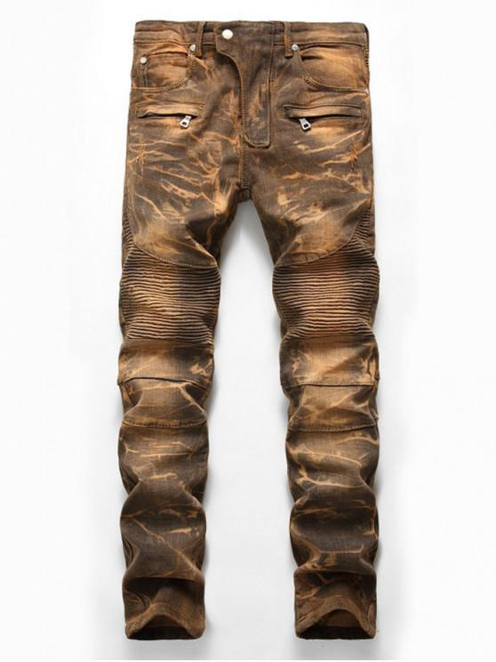 outfit Distressed Snow Wash Pleated Splicing Long Biker Jeans - CINNAMON 40