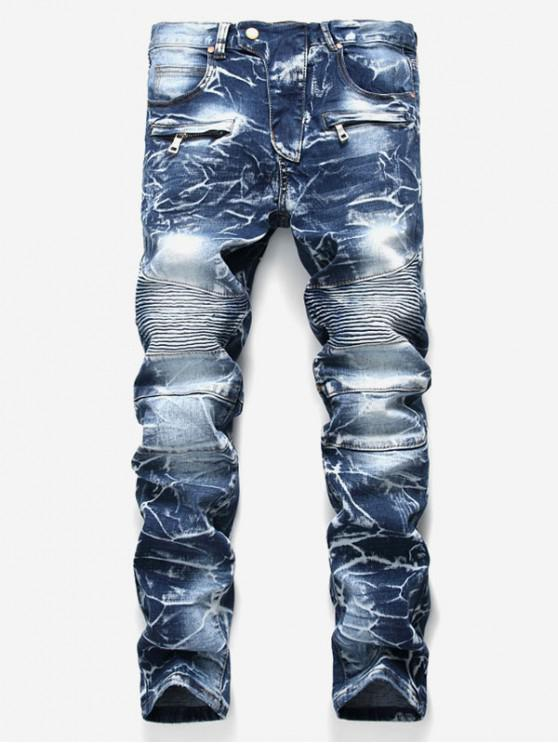 trendy Distressed Snow Wash Pleated Splicing Long Biker Jeans - COBALT BLUE 36