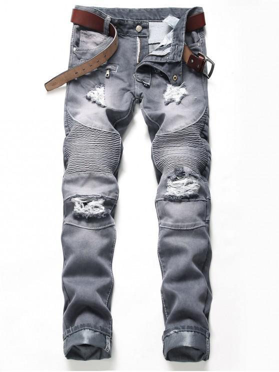fashion Pleated Patchwork Spliced Faux Zipper Pocket Ripped Jeans - SLATE BLUE 36