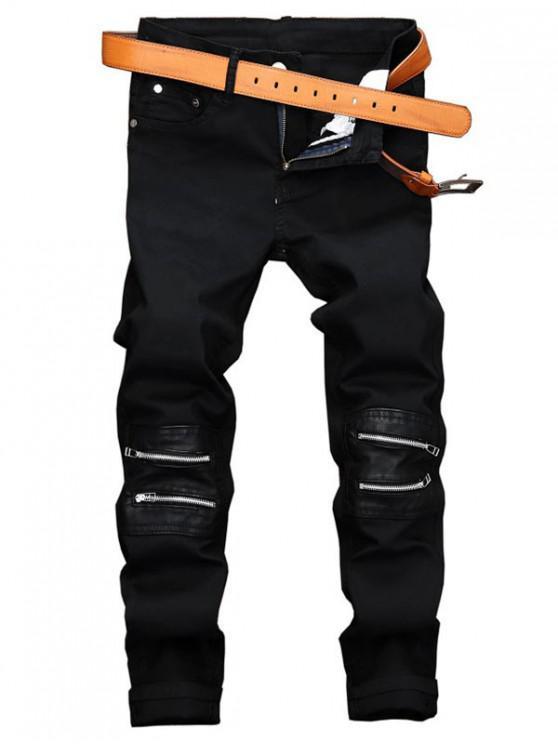 لون الصلبة زيبر المرقعة جينز عادية طويلة - أسود 32