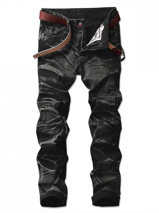 affordable Long Straight Splicing Design Denim Pants - NATURAL BLACK 42
