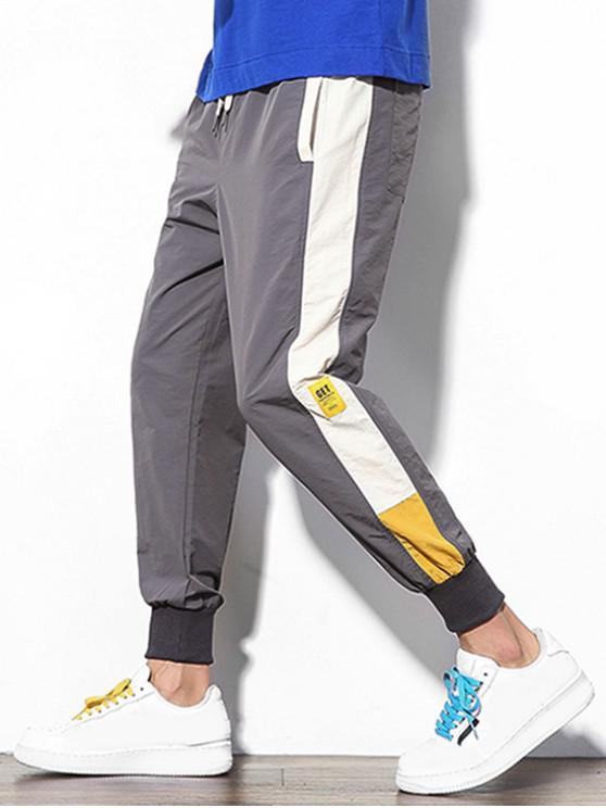 Pantalones de chándal casuales con apliques de empalme de bloques de color - Gris Oscuro M