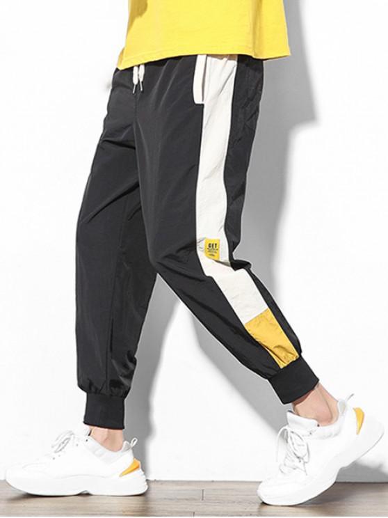 lady Color Block Splicing Applique Casual Jogger Pants - BLACK S