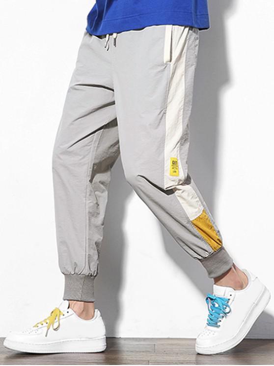 Bloque de color empalme apliques Pantalones Casual basculador - Gris Claro M