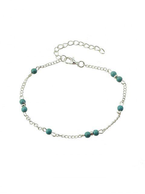 Bracelet de Plage à Chaîne Perlé en Turquoise - Argent  Mobile