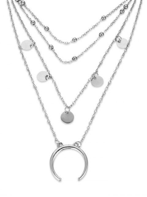 Collier pendentif en forme de lune ronde - Argent  Mobile