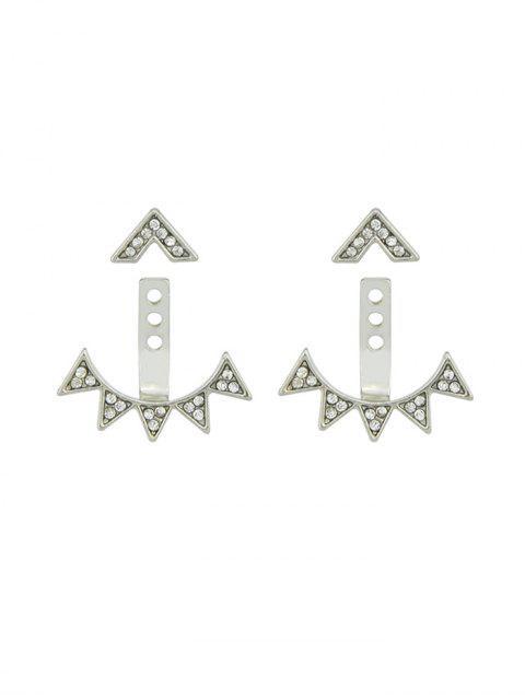 Boucles d'Oreilles Triangle Géométrique avec Strass - Argent  Mobile