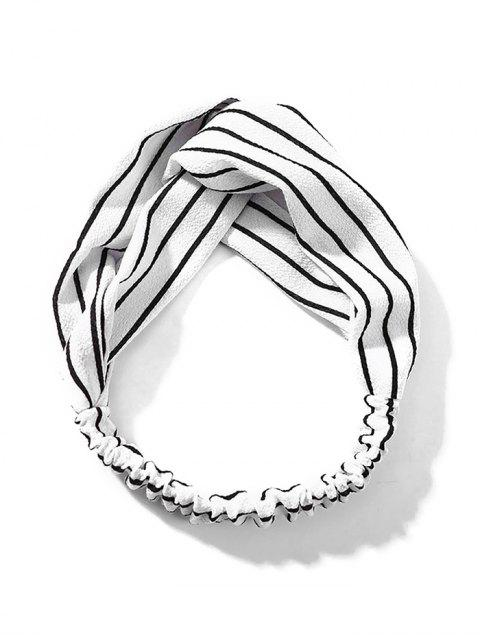 unique Printed Cross Knotted Stretchy HeadBand - WHITE  Mobile