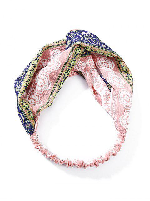 women's Printed Cross Knotted Stretchy HeadBand - PINK  Mobile