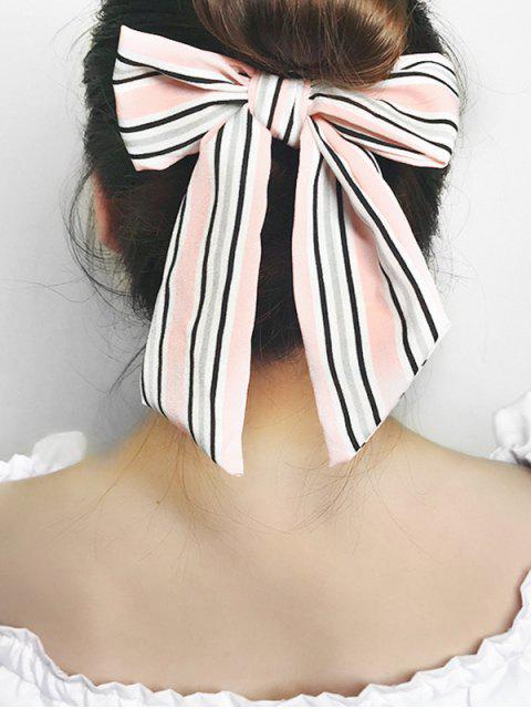 Bande de Cheveux Elastique Rayé Nœud Papillon - Rose   Mobile