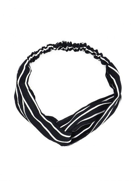 shop Printed Cross Knotted Stretchy HeadBand - BLACK  Mobile