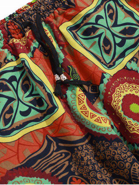 Pantalon Long Graphique Imprimé Motif de Feuille de Fleur Tropicale - Jaune d'Abeille 2XL Mobile