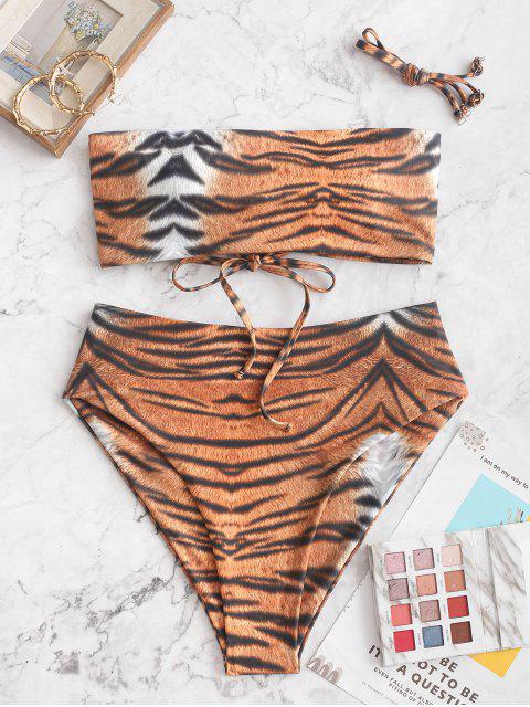 ZAFUL Maillot de Bain Bikini Bandeau Tigre Imprimé à Taille Haute - Orange Tigre L Mobile