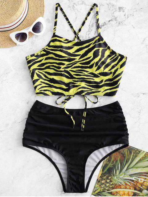 affordable ZAFUL Tiger Print Lace Up Tummy Control Tankini Swimsuit - MULTI-A S Mobile