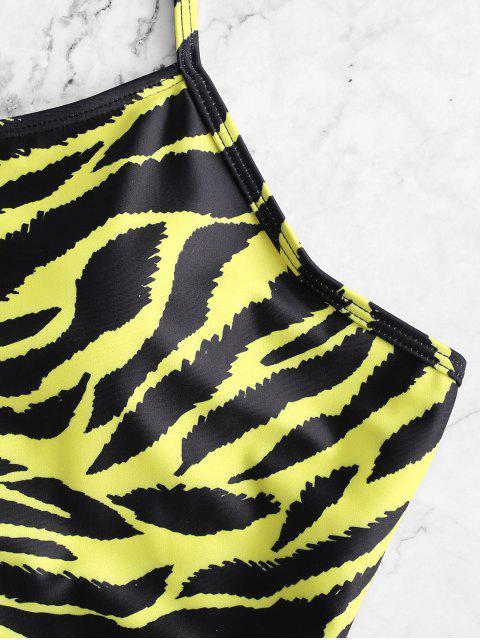ZAFUL Maillot de Bain Tankini Tigre Imprimé à Lacets - Multi-A S Mobile