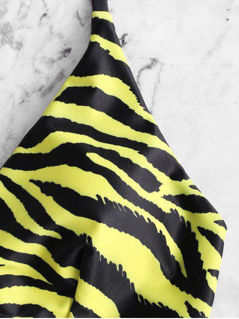 ZAFUL Bikini Acolchado con Cordones con Estampado de Tigre - Multicolor-A L Mobile