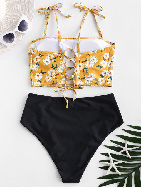 ZAFUL Daisy Print Lace Up Tummy Control Tankini Traje de baño - Multicolor-A XL Mobile