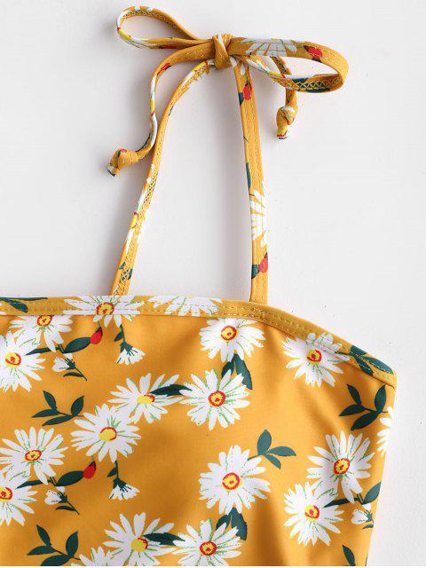 women's ZAFUL Daisy Print Lace Up Tummy Control Tankini Swimwear - MULTI-A L Mobile