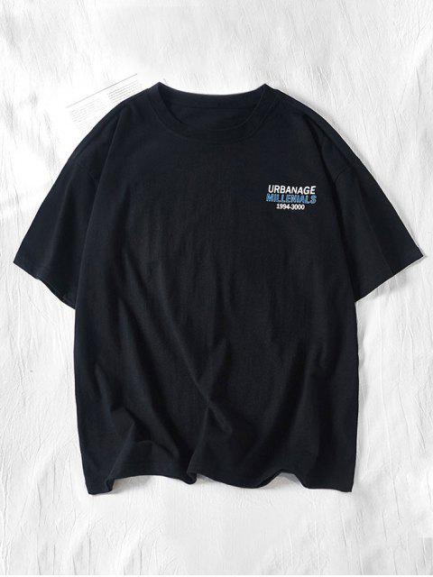 Camiseta de manga corta estampada con estampado de letras - Negro M Mobile