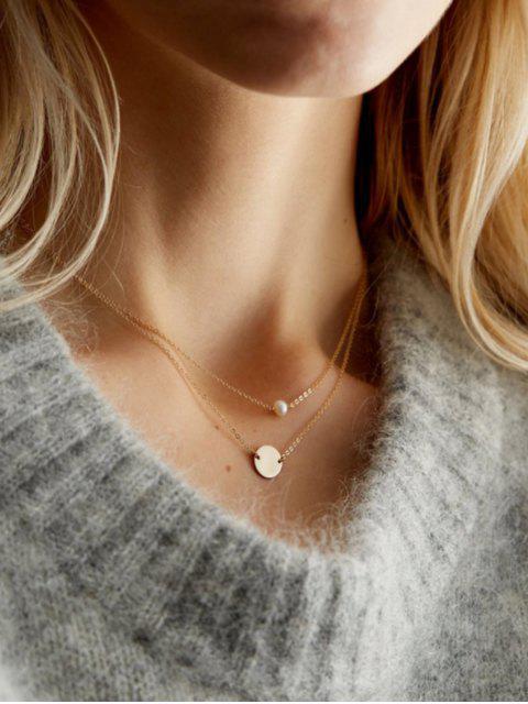 Collier de Chaîne Disque Superposé en Perle Artificielle - Or 42 + 46 + 7 Mobile