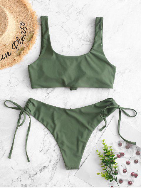 ZAFUL Bikini con Nudo Lateral - Verde Marrón Claro M Mobile