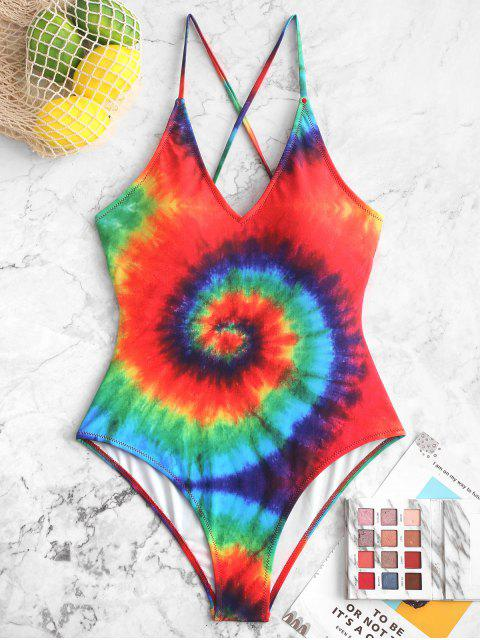 trendy ZAFUL Rainbow Spiral Tie Dye Print One-piece Swimsuit - MULTI-A M Mobile