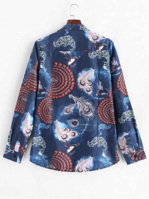 鳳凰孔雀羽毛印花長袖鈕扣襯衫 - 深藍 L Mobile