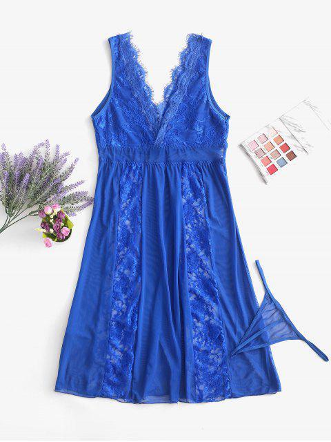 蕾絲和網眼透視睡衣 - 藍莓藍 S Mobile