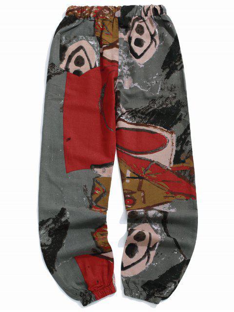 fancy Long Tribal Geometric Painting Print Jogger Pants - MULTI-C L Mobile
