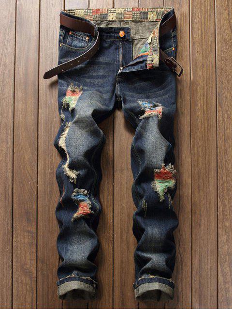 fancy Colorful Destroy Wash Scratch Long Casual Jeans - DENIM DARK BLUE 40 Mobile