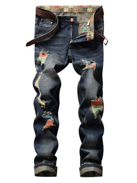 women's Colorful Destroy Wash Scratch Long Casual Jeans - DENIM DARK BLUE 34 Mobile
