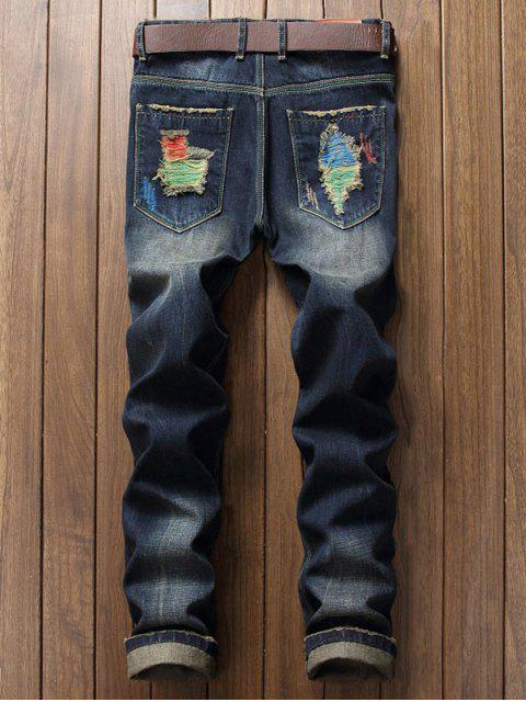 shops Colorful Destroy Wash Scratch Long Casual Jeans - DENIM DARK BLUE 38 Mobile