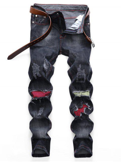 trendy Colored Patchwork Ripped Scratch Long Straight Jeans - BLACK 32 Mobile