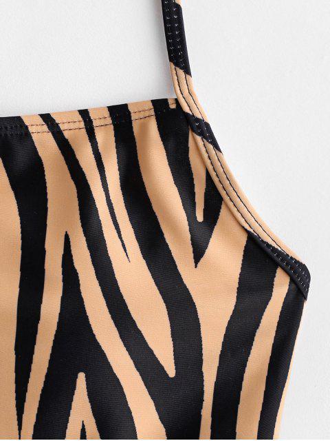 womens ZAFUL Zebra Print Lace Up One-piece Swimsuit - MULTI-A L Mobile