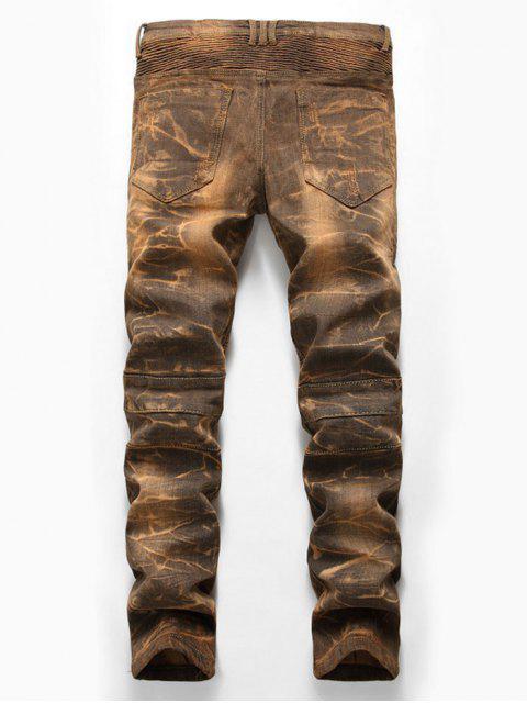 shop Distressed Snow Wash Pleated Splicing Long Biker Jeans - CINNAMON 36 Mobile