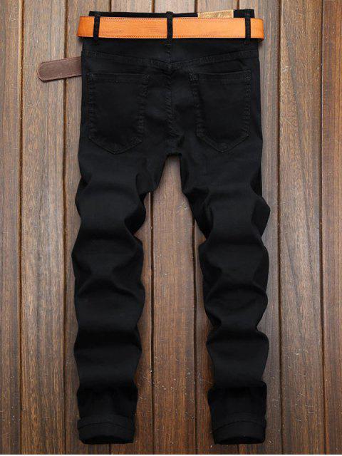 ladies Solid Color Zipper Patchwork Long Casual Jeans - BLACK 36 Mobile