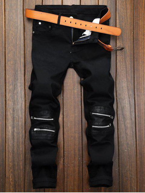 new Solid Color Zipper Patchwork Long Casual Jeans - BLACK 32 Mobile