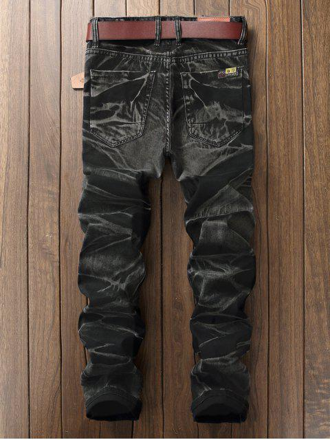 chic Long Straight Splicing Design Denim Pants - NATURAL BLACK 34 Mobile
