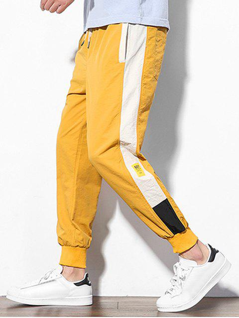 shops Color Block Splicing Applique Casual Jogger Pants - YELLOW S Mobile
