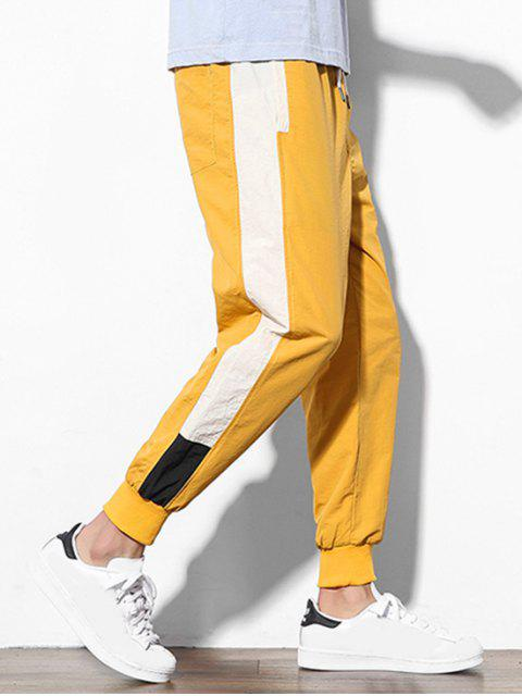 色塊拼接貼花休閒慢跑褲 - 黃色 S Mobile