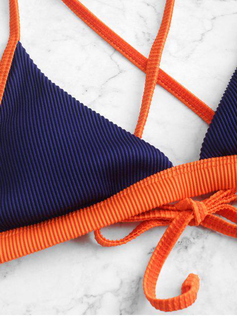 ZAFUL Maillot de Bain Bikini Texturé Contrasté avec Passepoil - Bleu Marine M Mobile