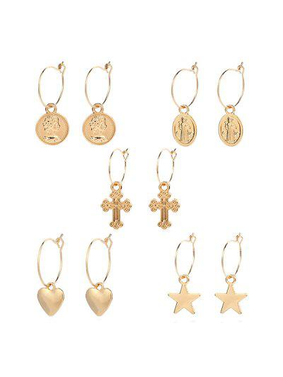 Geometric Star Heart Cross Design Metal Drop Earrings Set - Gold