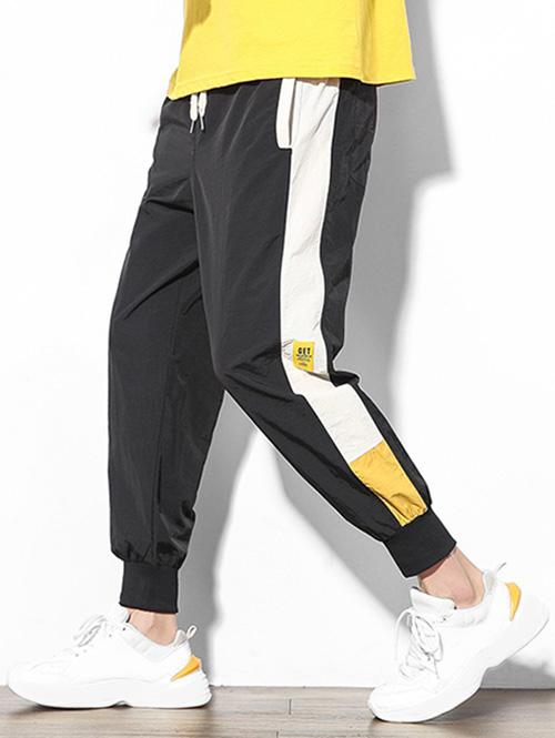 Color Block Splicing Applique Casual Jogger Pants фото